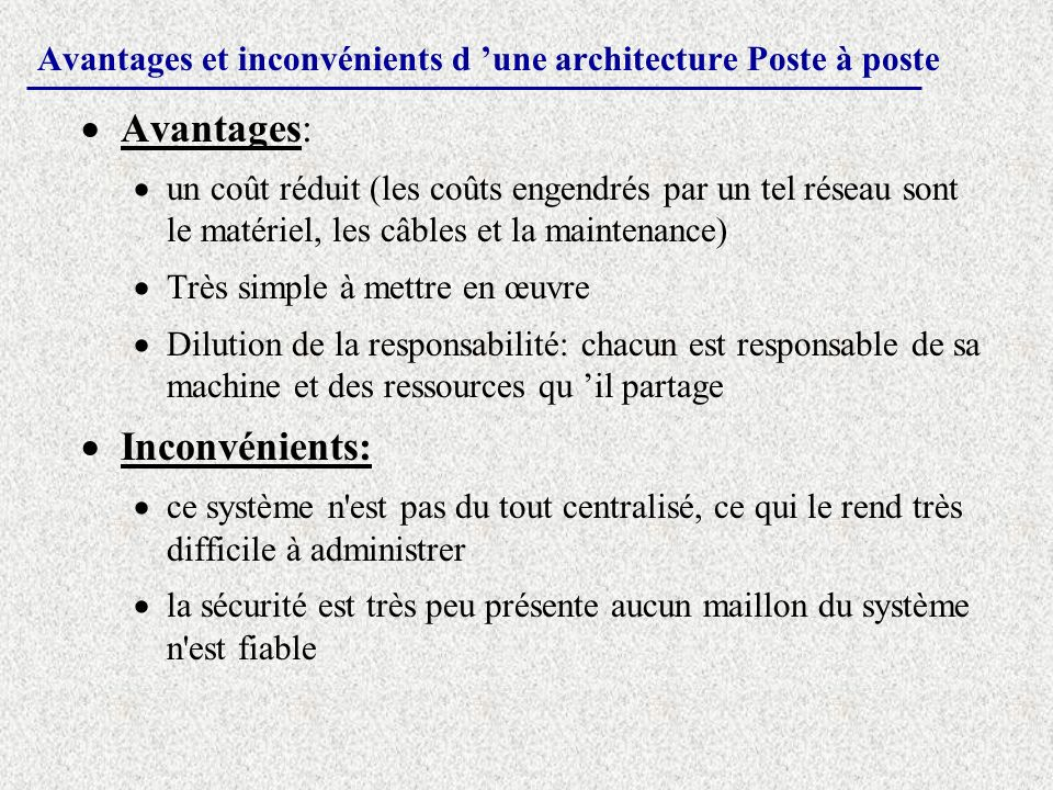 Avantages et inconvénients d 'une architecture Poste à poste