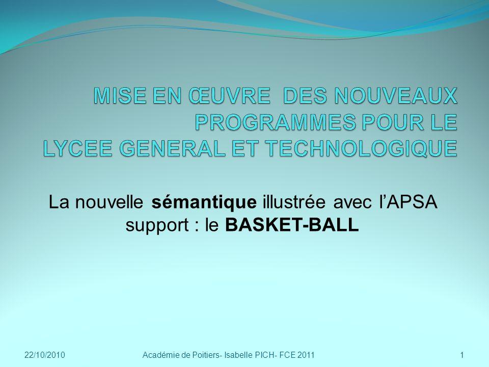 La nouvelle sémantique illustrée avec l'APSA support : le BASKET-BALL