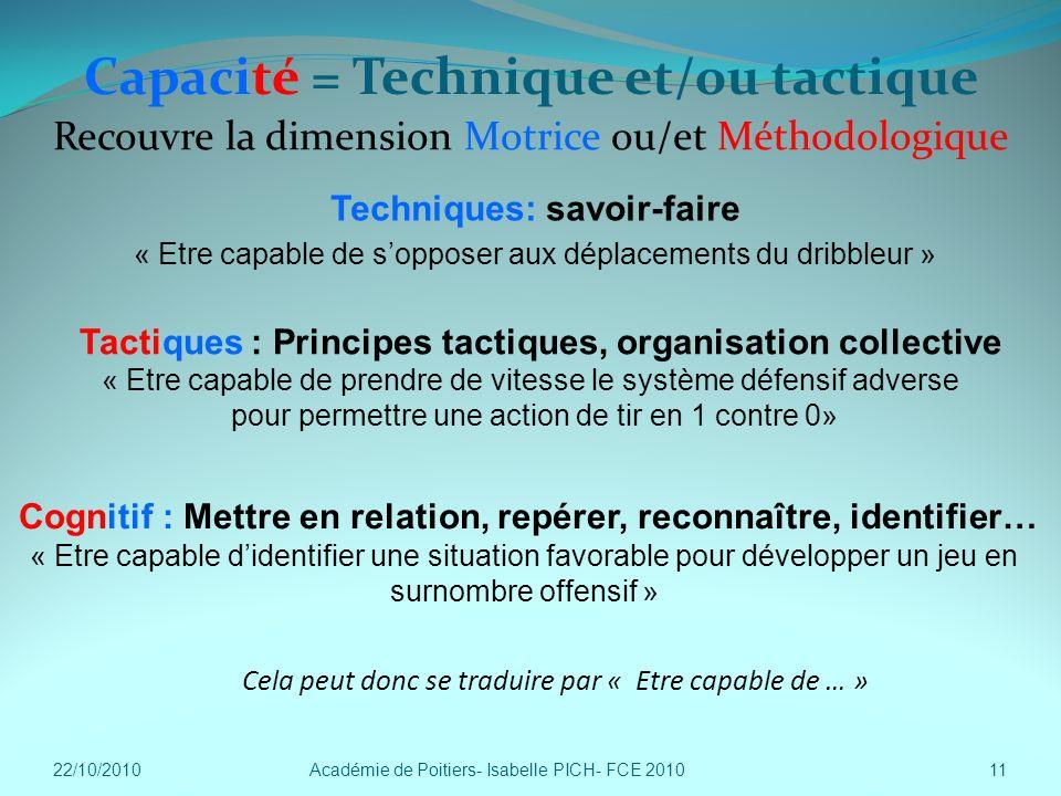 Capacité = Technique et/ou tactique