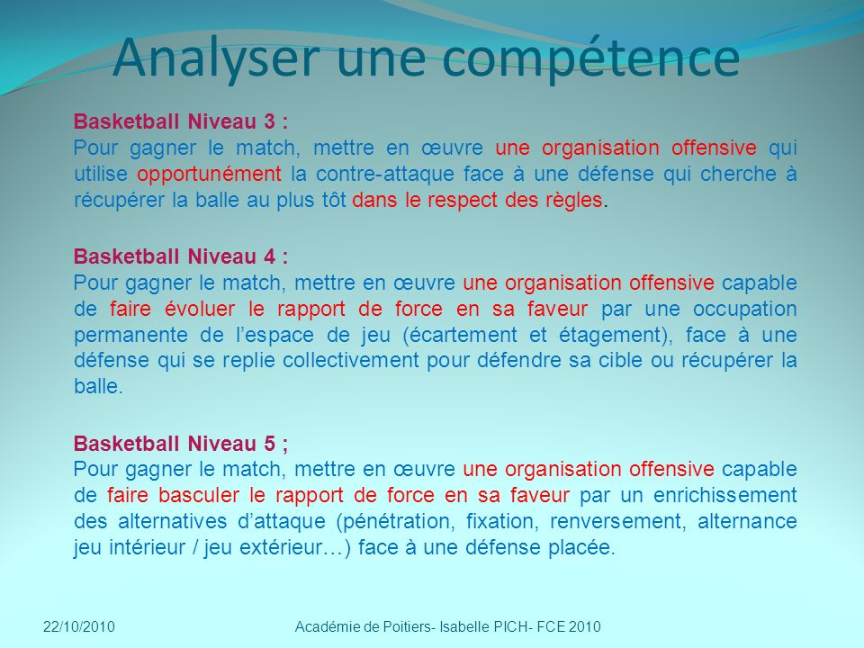 Analyser une compétence
