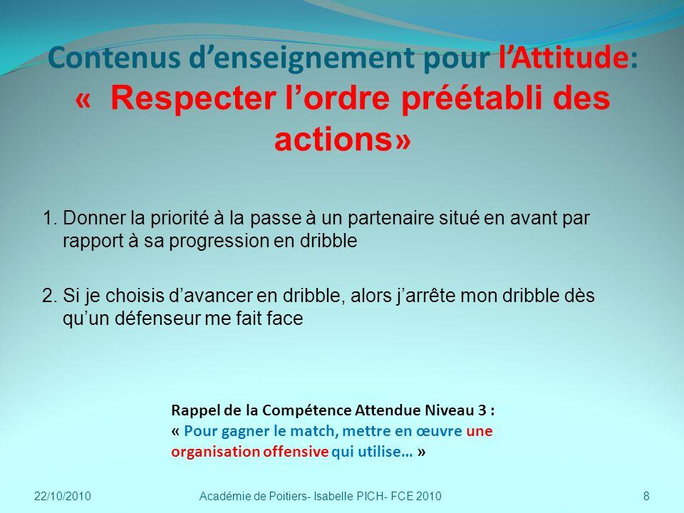 Contenus d'enseignement pour l'Attitude: « Respecter l'ordre préétabli des actions»