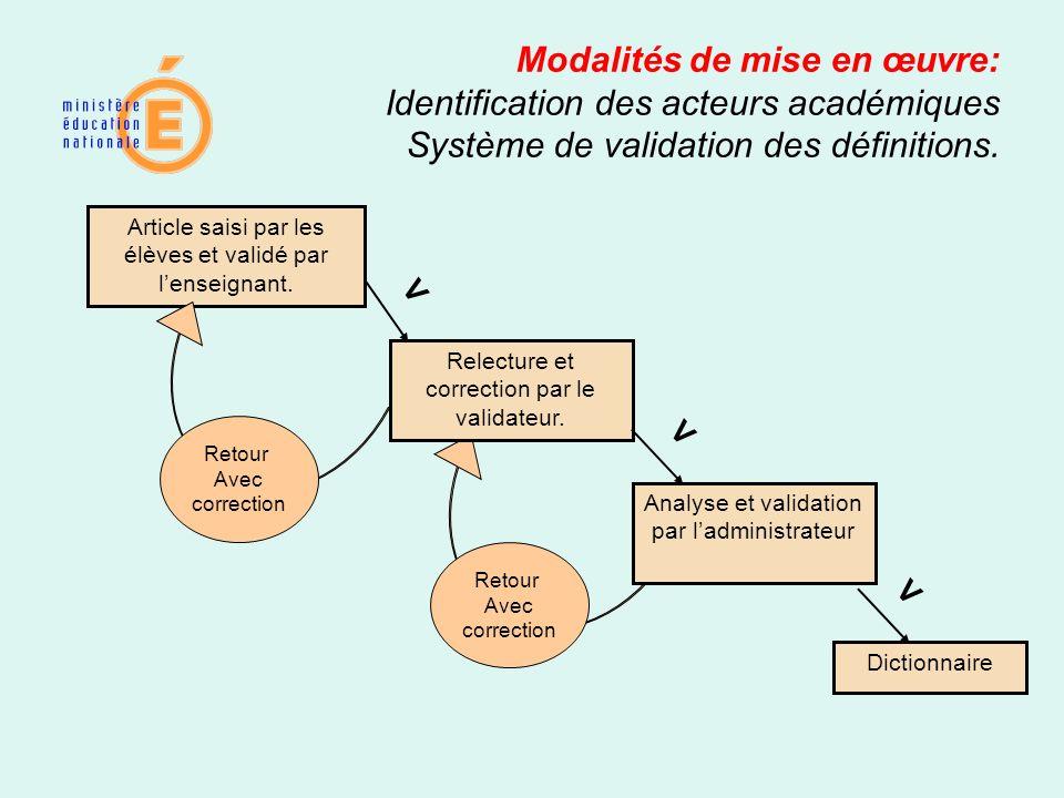 Modalités de mise en œuvre: Identification des acteurs académiques Système de validation des définitions.