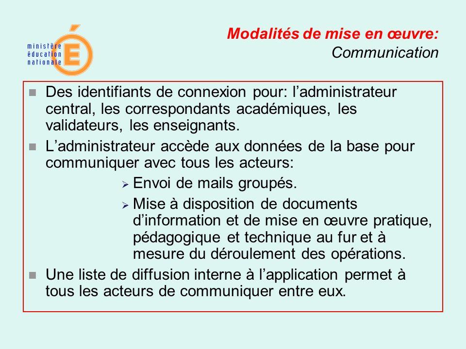 Modalités de mise en œuvre: Communication