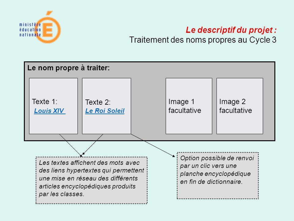 Le descriptif du projet : Traitement des noms propres au Cycle 3