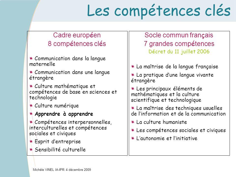 Les compétences clés Cadre européen 8 compétences clés