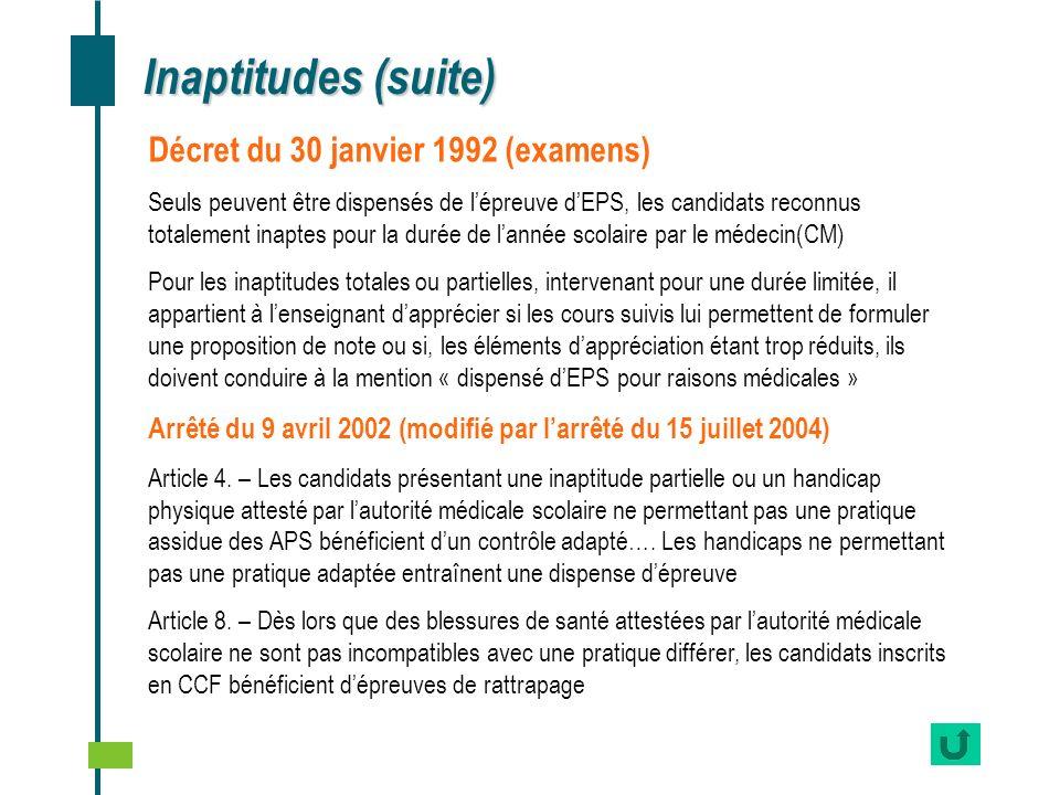 Inaptitudes (suite) Décret du 30 janvier 1992 (examens)