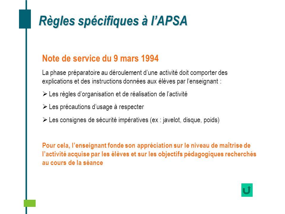 Règles spécifiques à l'APSA