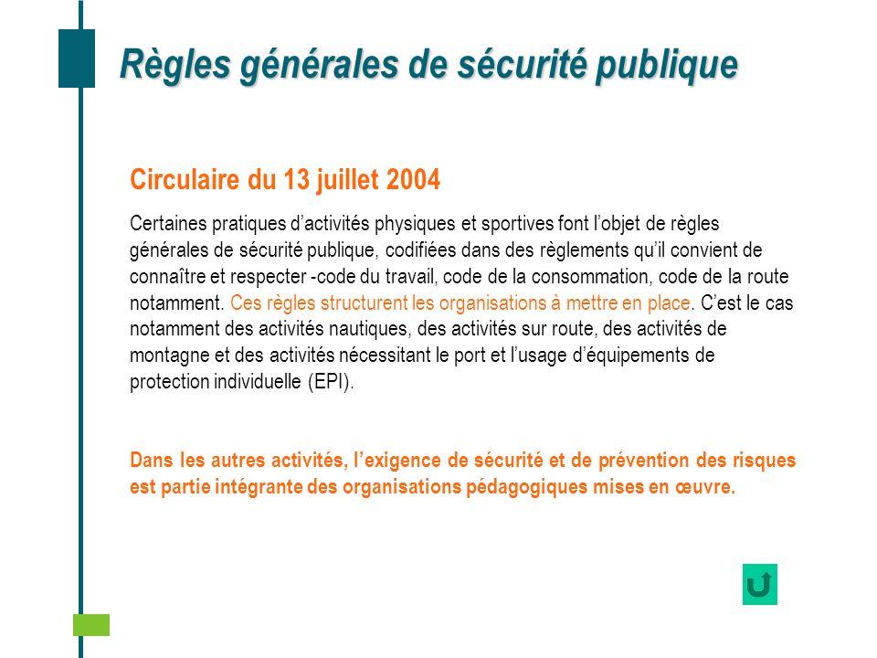 Règles générales de sécurité publique
