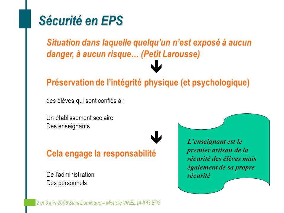 Sécurité en EPS Situation dans laquelle quelqu'un n'est exposé à aucun danger, à aucun risque… (Petit Larousse)