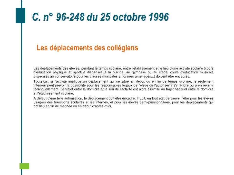 C. n° 96‑248 du 25 octobre 1996 Les déplacements des collégiens