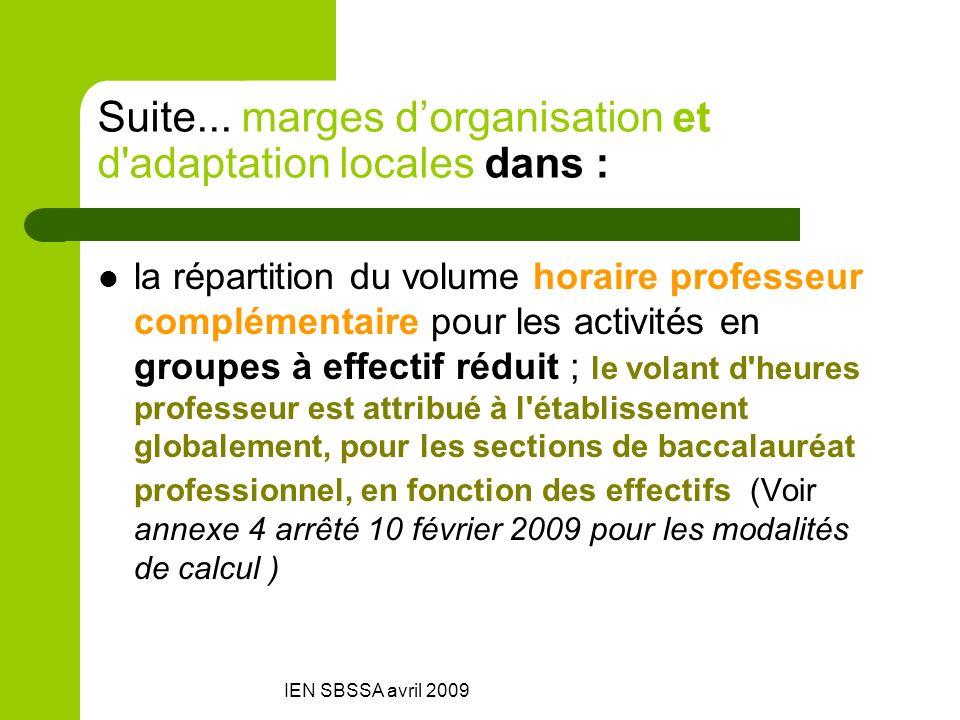 Suite... marges d'organisation et d adaptation locales dans :