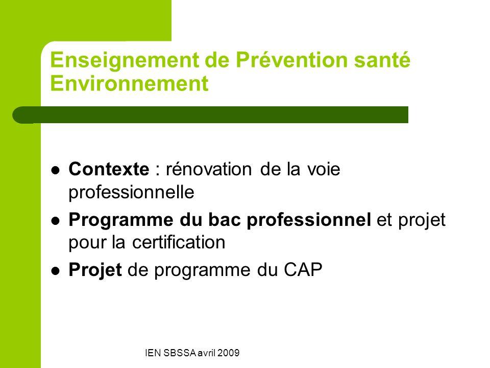Enseignement de Prévention santé Environnement