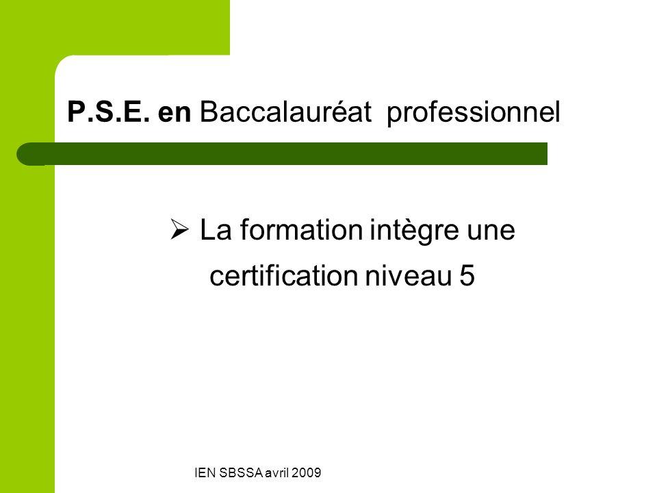 P.S.E. en Baccalauréat professionnel