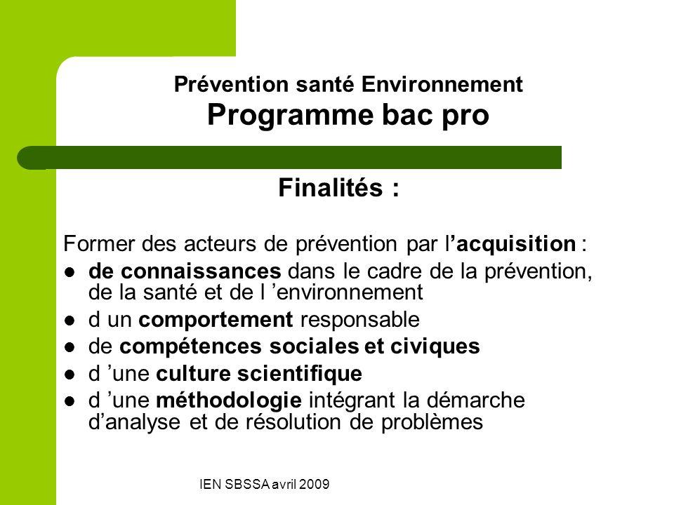 Prévention santé Environnement Programme bac pro