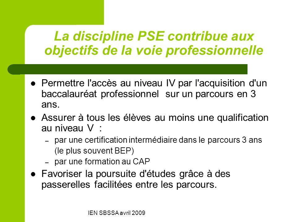 La discipline PSE contribue aux objectifs de la voie professionnelle