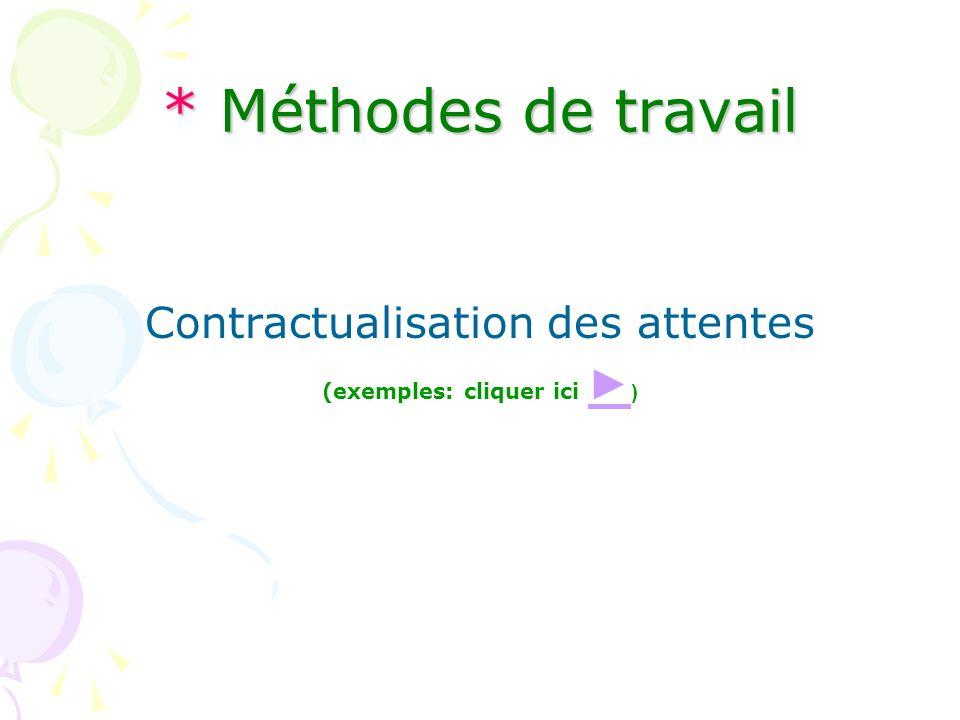 * Méthodes de travail Contractualisation des attentes