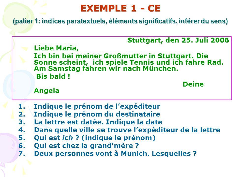 EXEMPLE 1 - CE (palier 1: indices paratextuels, éléments significatifs, inférer du sens)