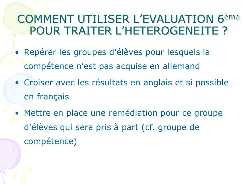 COMMENT UTILISER L'EVALUATION 6ème POUR TRAITER L'HETEROGENEITE