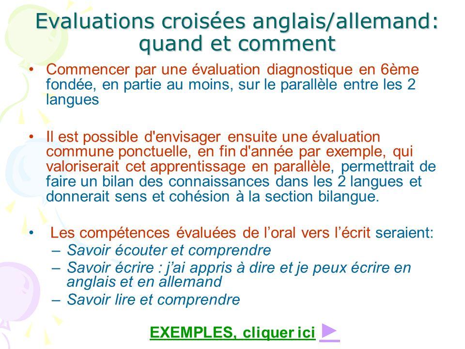 Evaluations croisées anglais/allemand: quand et comment