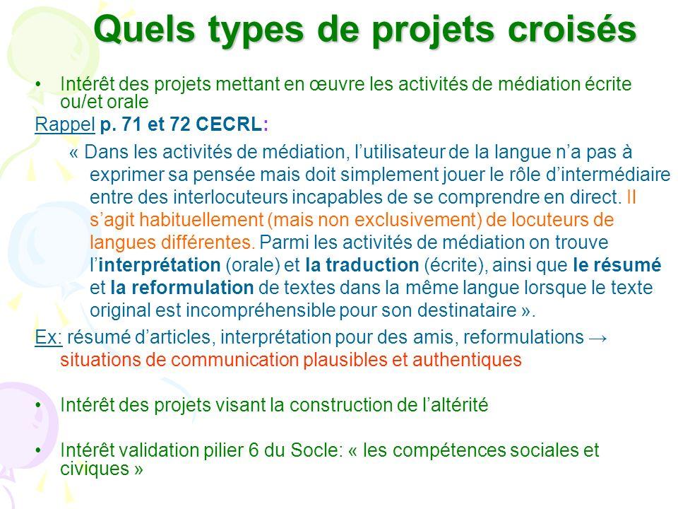Quels types de projets croisés