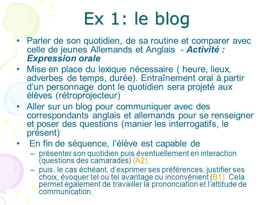 Ex 1: le blog Parler de son quotidien, de sa routine et comparer avec celle de jeunes Allemands et Anglais - Activité : Expression orale.