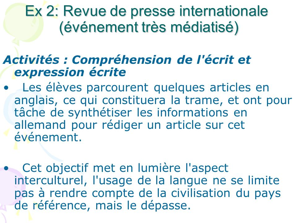 Ex 2: Revue de presse internationale (événement très médiatisé)