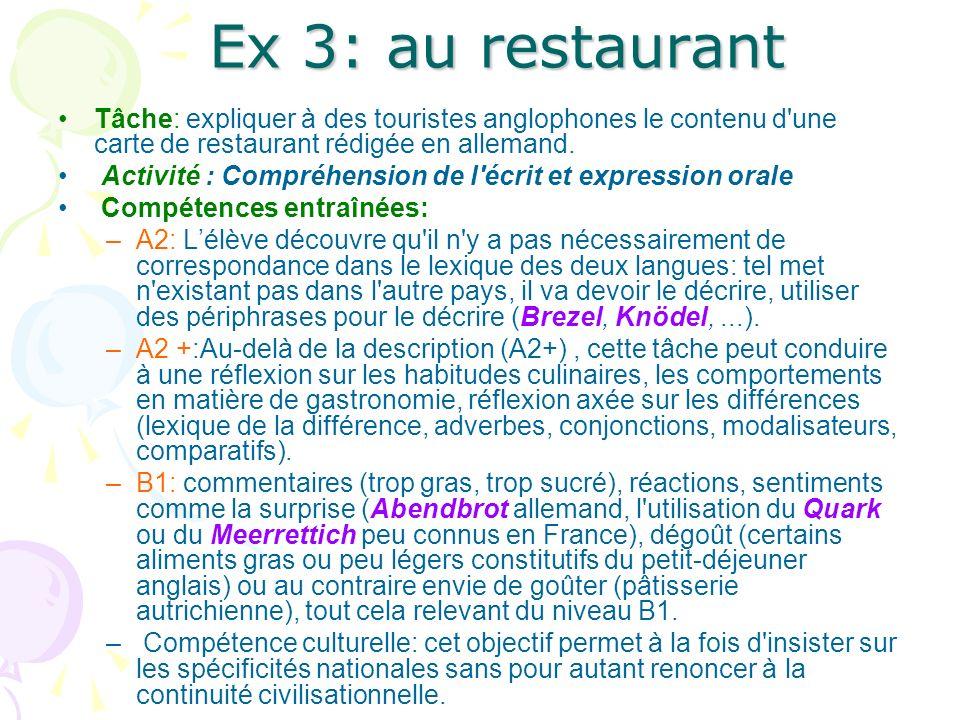 Ex 3: au restaurant Tâche: expliquer à des touristes anglophones le contenu d une carte de restaurant rédigée en allemand.