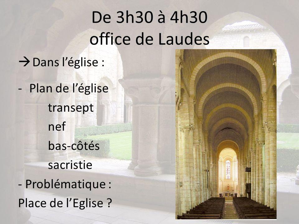 De 3h30 à 4h30 office de Laudes Dans l'église : Plan de l'église