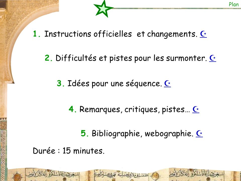 1. Instructions officielles et changements. 