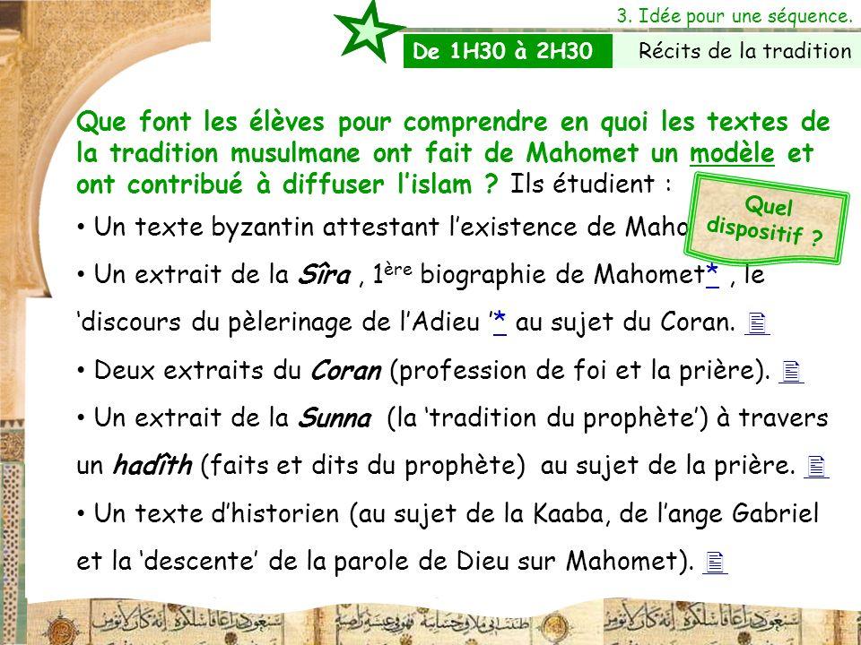 Un texte byzantin attestant l'existence de Mahomet. 