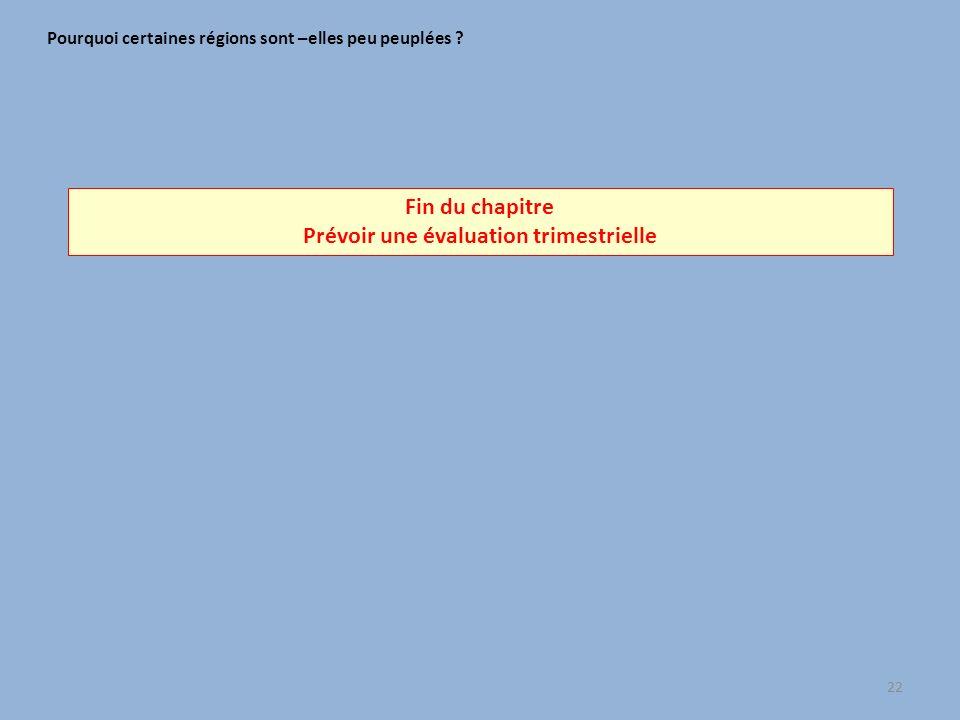 Fin du chapitre Prévoir une évaluation trimestrielle