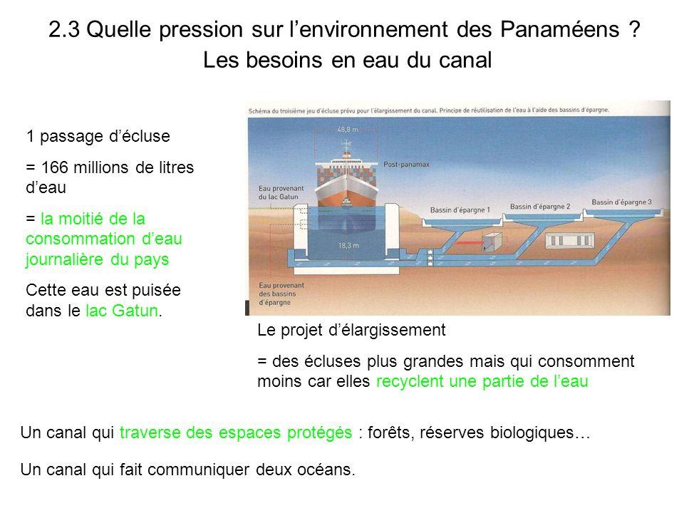 2.3 Quelle pression sur l'environnement des Panaméens