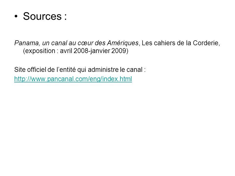 Sources :Panama, un canal au cœur des Amériques, Les cahiers de la Corderie, (exposition : avril 2008-janvier 2009)