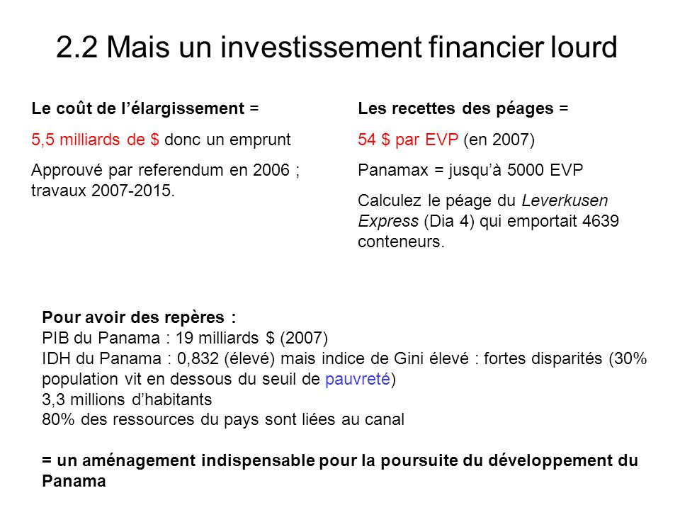 2.2 Mais un investissement financier lourd
