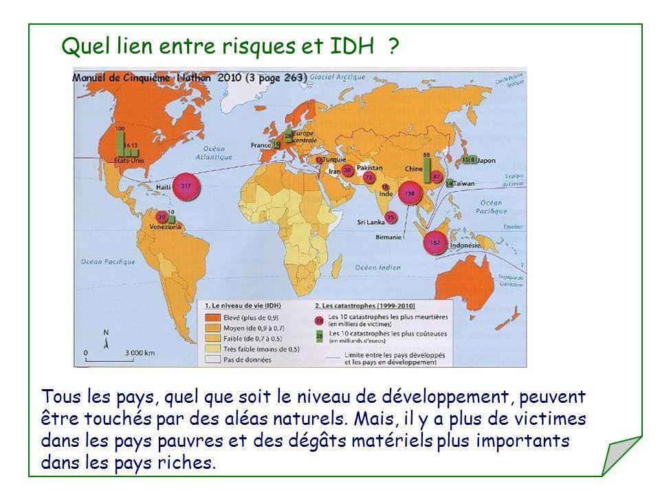 Quel lien entre risques et IDH