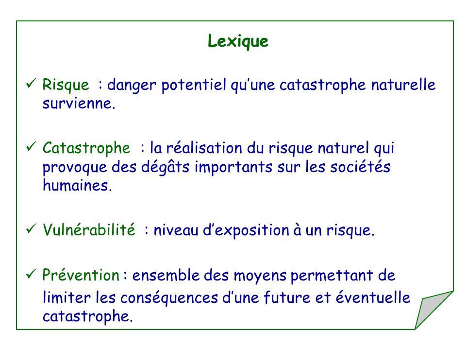 Lexique Risque : danger potentiel qu'une catastrophe naturelle survienne.