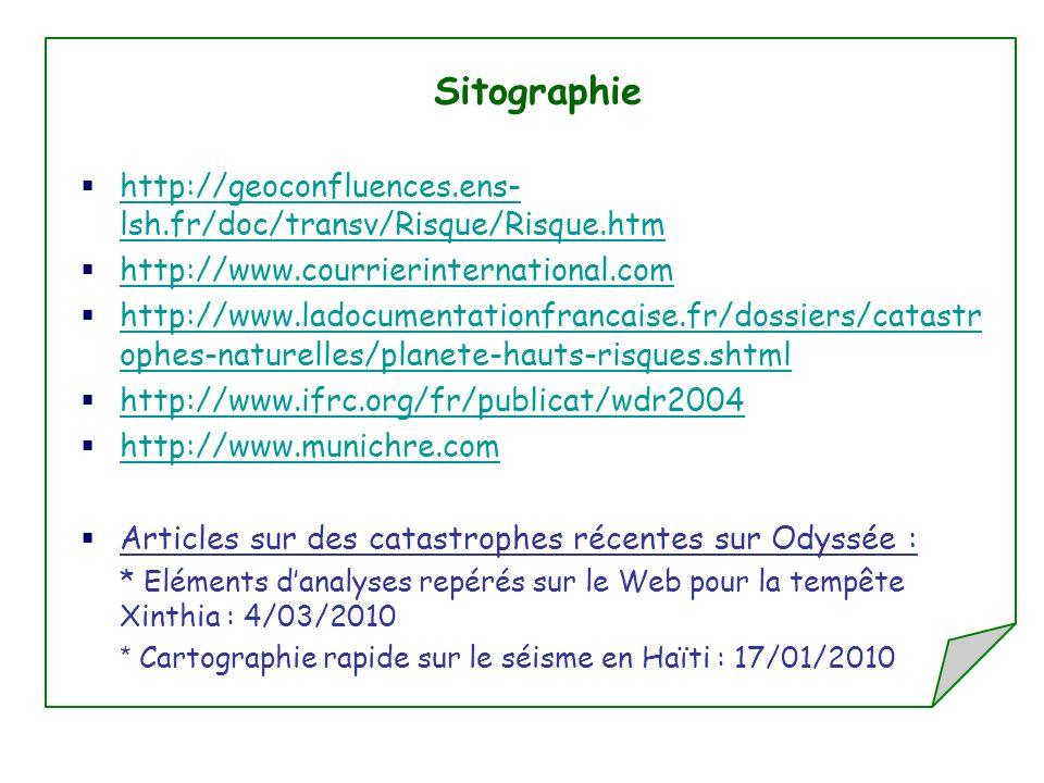 Sitographie http://geoconfluences.ens-lsh.fr/doc/transv/Risque/Risque.htm. http://www.courrierinternational.com.