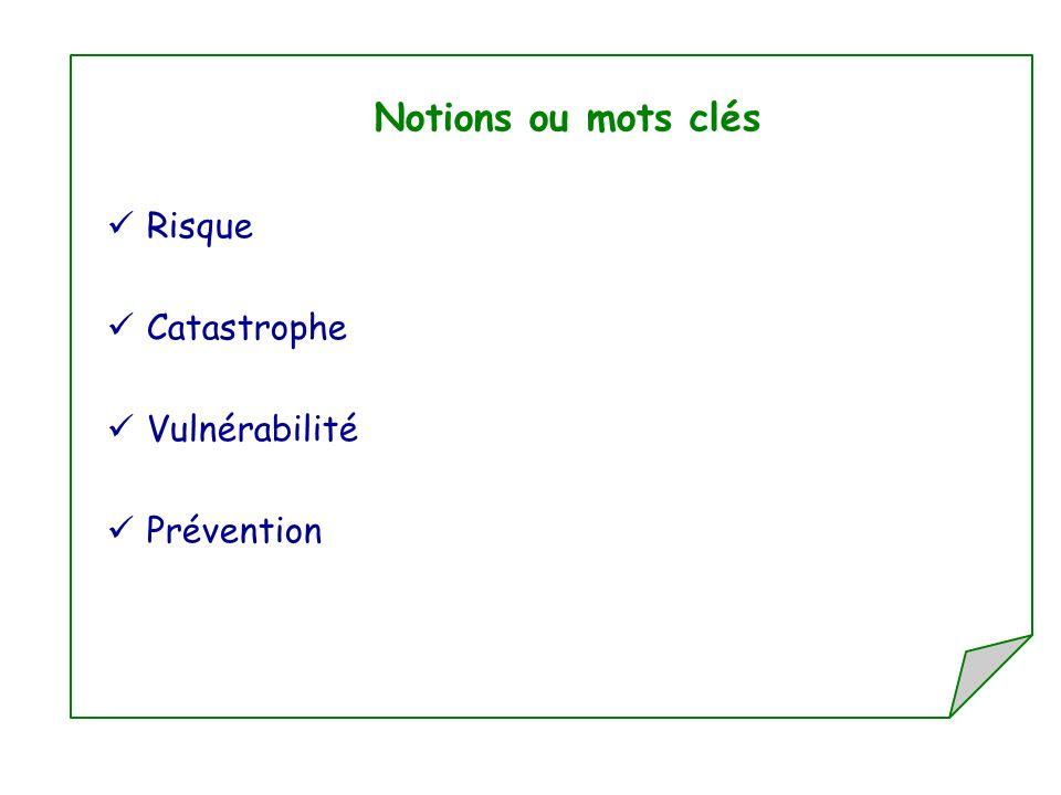 Notions ou mots clés Risque Catastrophe Vulnérabilité Prévention