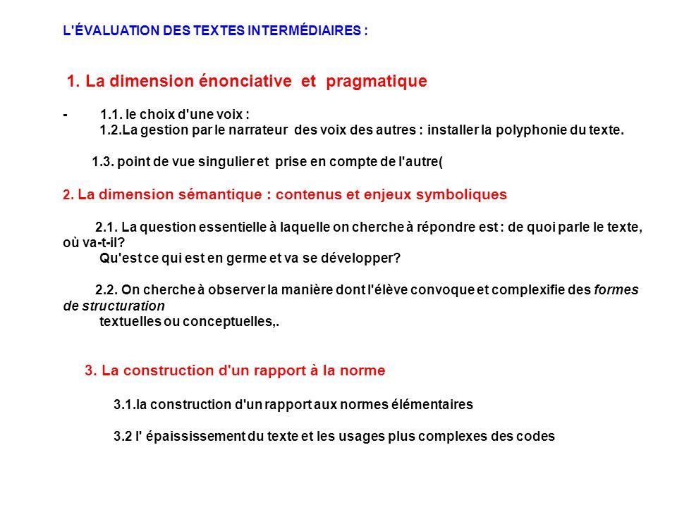 L ÉVALUATION DES TEXTES INTERMÉDIAIRES :