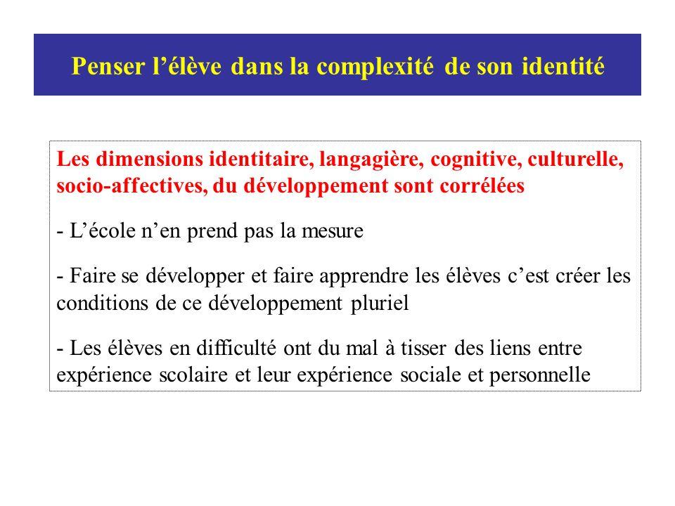 Penser l'élève dans la complexité de son identité