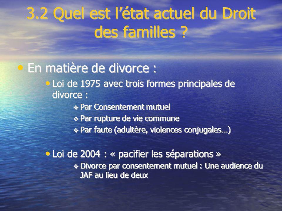3.2 Quel est l'état actuel du Droit des familles