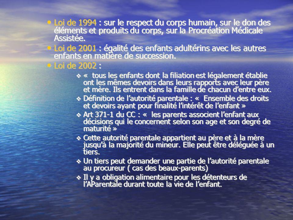 Loi de 1994 : sur le respect du corps humain, sur le don des éléments et produits du corps, sur la Procréation Médicale Assistée.