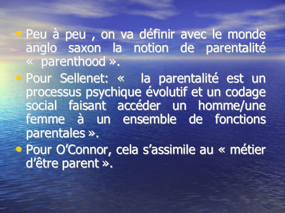 Peu à peu , on va définir avec le monde anglo saxon la notion de parentalité « parenthood ».