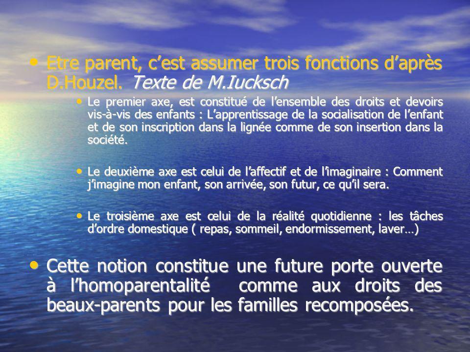 Etre parent, c'est assumer trois fonctions d'après D. Houzel