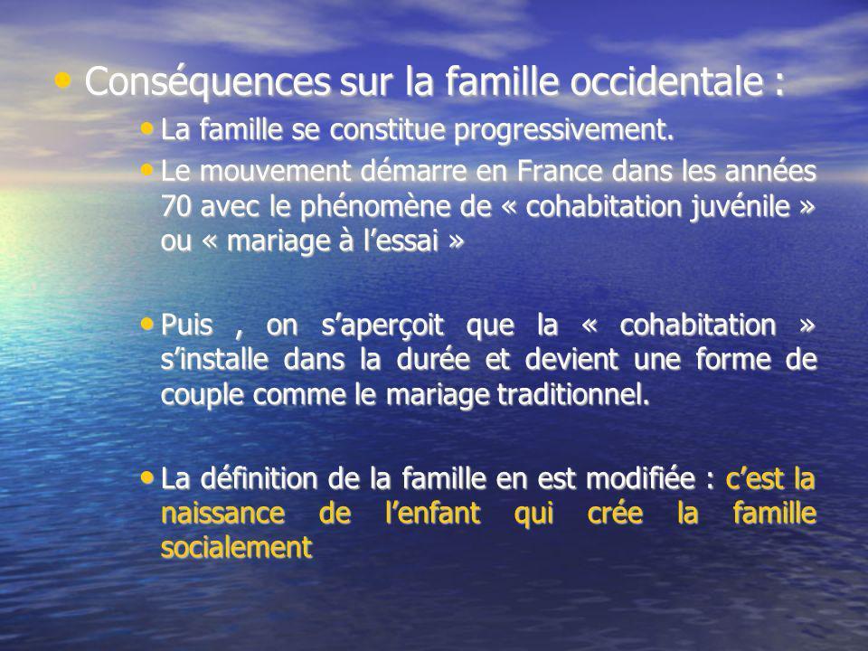 Conséquences sur la famille occidentale :