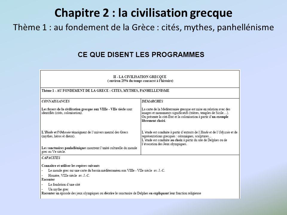 Chapitre 2 : la civilisation grecque