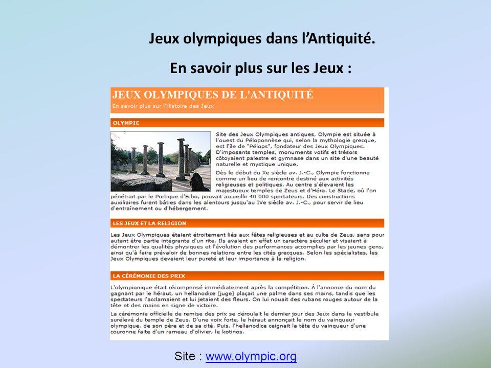 Jeux olympiques dans l'Antiquité. En savoir plus sur les Jeux :