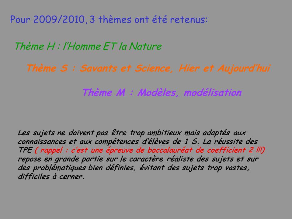 Pour 2009/2010, 3 thèmes ont été retenus: