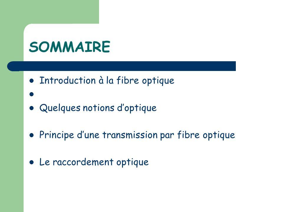 SOMMAIRE Introduction à la fibre optique Quelques notions d'optique