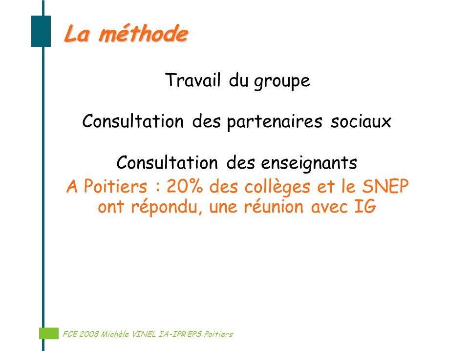 La méthode Travail du groupe Consultation des partenaires sociaux